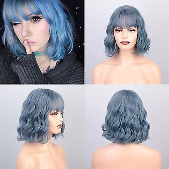 Pelucas cortas bob pelucas onduladas verdes sintéticas con flequillo hasta el hombro resistente al calor fibra roja / pind cosplay cabello