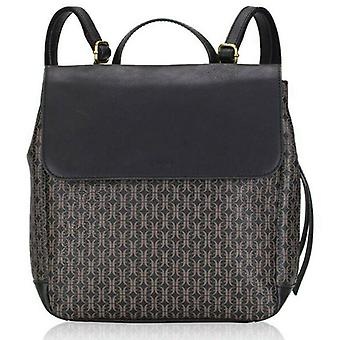 Fossil Claire Black Brown Signature Flap Backpack SHB2346015