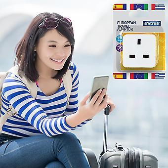 Status European Travel Adapter Stromrichter Weiß, 1 Pack