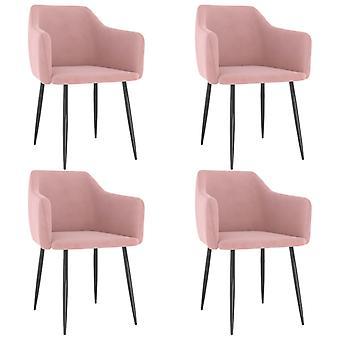 vidaXL dining chairs 4 pcs. pink velvet