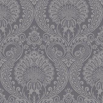 Arthouse Metaliczne tekstury Luxe Damask Gunmetal Srebrna Tapeta 910307