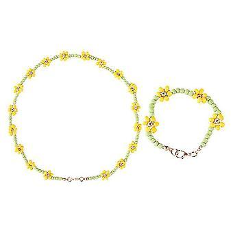 Charming Girl Bracelet Beaded Necklace Jewelry Sets 2Pcs1Set