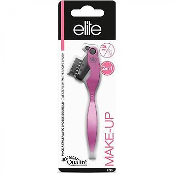 Elite - Tweezers With Eyebrow Brush 2 In 1