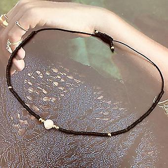 Thin Pearl Bracelet, Handmade Delica Beads, Glass Vintage, Simple Bracelets,(Black)