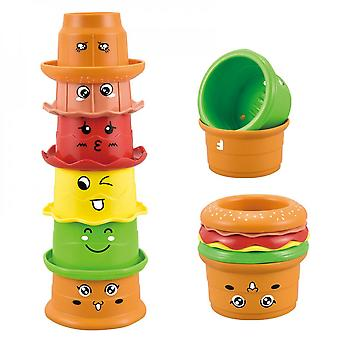 Fun And Cute Burger Stack Cup Baby Science Education Bath Play Hourglass Toy Children