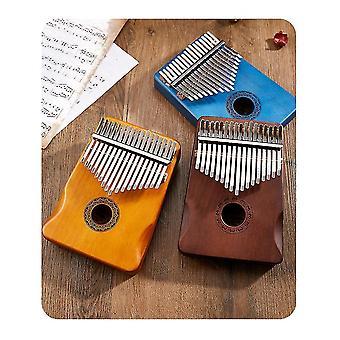 17 Tasten Daumen Klavier Tragbares Holz Finger Klavier, Geschenk für Kinder Erwachsene Anfänger (Dunkelblau)