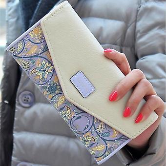 Damen Damen Umschlag Leder Geldbörse Karte Button Clutch Handtasche Lange Handtasche