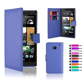 Prenota con custodia in pelle per HTC One (M7) + stilo - Deep Blue