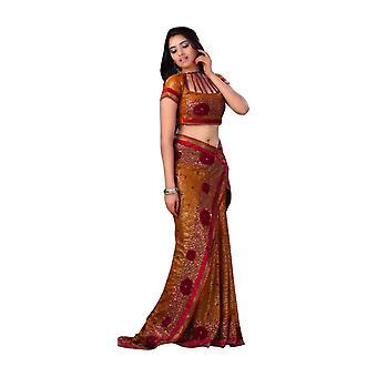 Ebbe sennep Georgette Designer part bære Sari saree