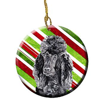 Black Standard Poodle Candy Cane Christmas Ceramic Ornament