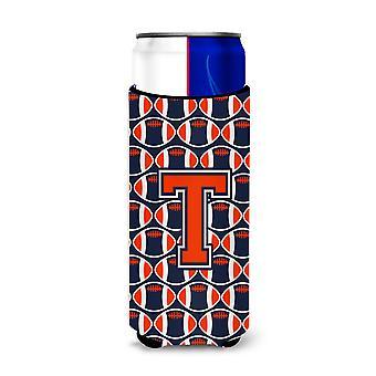 Brief van T voetbal oranje, blauw en wit Ultra drank isolatoren voor slanke blikjes