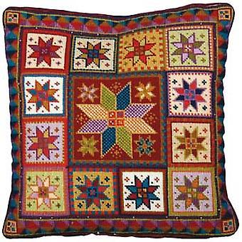 Star Tile Cushion Needlepoint Canvas