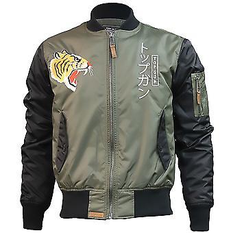 Top Gun Tiger Bomber Jacket Olive Black