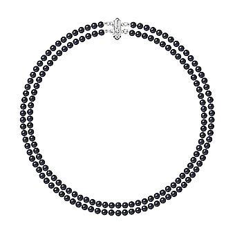 2 rader med perler av ferskvann svart halskjede