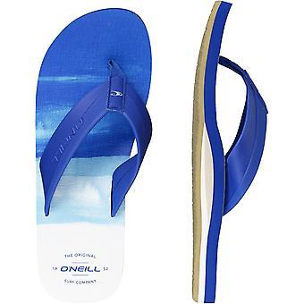 ONeill Imprint Pattern Flip Flops in Blue Aop