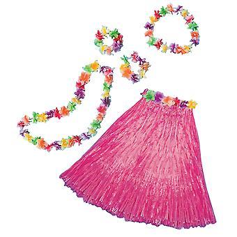 Aloha Hawaiian Traveller Pink Women Costume Skirt Lei Headband Bracelet Kit
