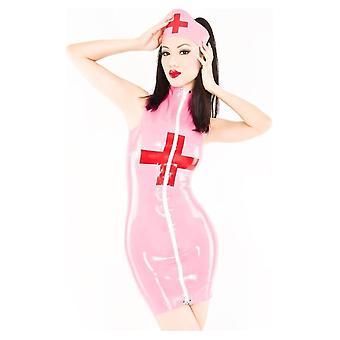 Nach Westen gebunden Medic Latex Krankenschwester Uniform Gummikleid