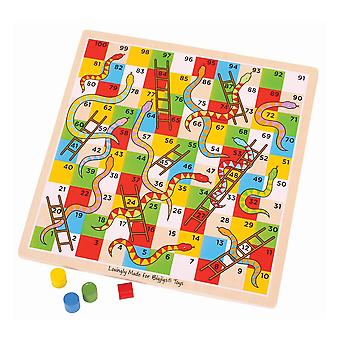 Bigjigs Toys Traditional Wooden Snakes and Ladders Family Board Game Playset