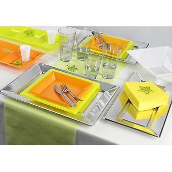 Utensílios de mesa Primavera tema definido para 6 hóspedes 113-teilig partido partido verde laranja pacote