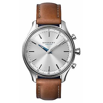 Kronaby 38mm SEKEL Stainless Brown Leather Strap A1000-0658 S0658/1 Watch