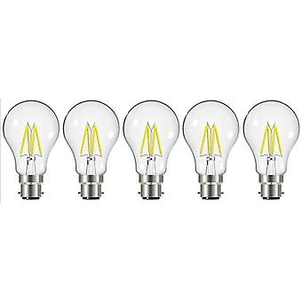 5 X Energizer 7.2W = 60W LED Filament GLS Light Bulb Lamp Vintage BC B22 Bayonet Cap [Energy Class A+]