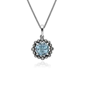Art Deco Style Cushion Blue Topaz & Marcasite Halo Pendant Necklace in 925 Sterling Silver 214P301502925