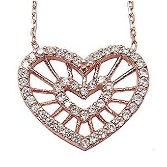 double heart 18 ct rose gold plated necklace
