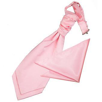 男の子用サテン結婚式ネクタイ & ポケット広場セット赤ちゃんピンク プレーン