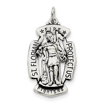 925 Plata de ley sólido satén grabado acabado antiguo St. Florian Medalla Encanto - 5.2 Gramos