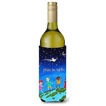 Paix sur terre bouteille de vin boisson isolateur Hugger