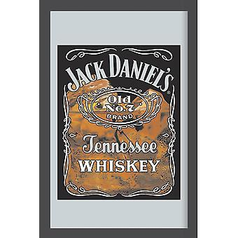 Jack Daniel's whiskey glass mirror wall mirror with black plastic framing wood.