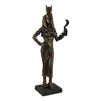 Egyptian Goddess Hathor Holding a Cobra Statue