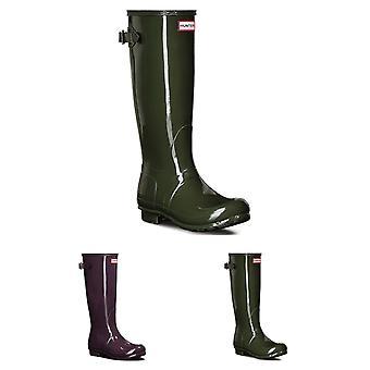 Womens Hunter Original Adjustable Back Gloss Wellington Waterproof Boots UK 3-9