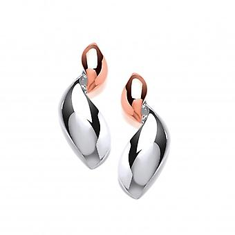 Cavendish French Silver and Rose Gold Waves Drop Earrings