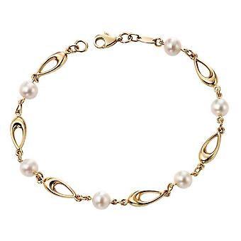 Elements Gold Freshwater Pearl Link Bracelet - Gold/White