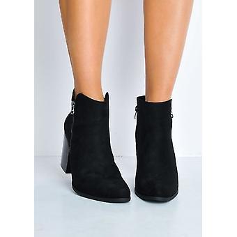Faux Wildleder Holzblock Heel Ankle Boots schwarz