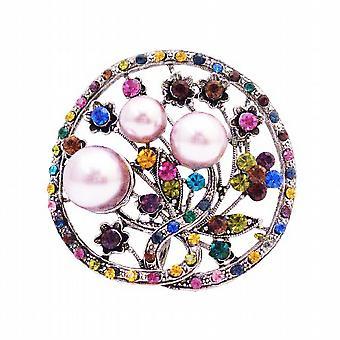 Lyserøde perler runde Multi krystaller skorpede hele ferie broche Pin