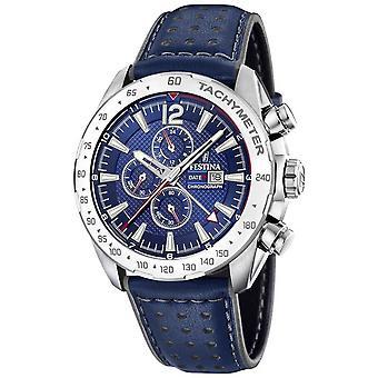Festina | Mens Chronograph & Dual Time| Blue Dial | Leather Bracelet F20440/2 Watch
