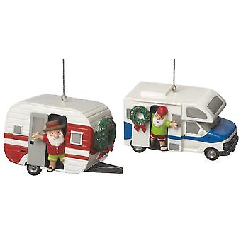 Santa in RV and Teardrop Camper Holiday Ornaments Set of 2