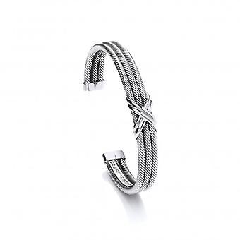 Cavendish franske sølv enkelt kys Cuff armbånd