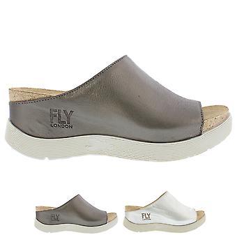 Womens Fly London Wigg Idra Leather Slip On Wedge Heel Open Toe Sandals