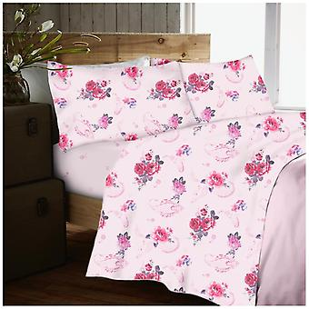 Nancy Rose Flannelette Brushed Cotton Sheet Set Fitted Flat Sheet Pillow Case