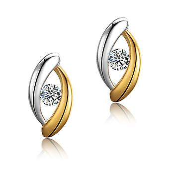 925 Sterling Silver Eye vorm twee tonen Aaaaa Cz Stud Earrings Stud Earrings