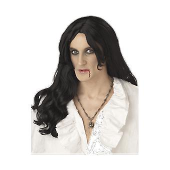 Mens Old World Vampire Black Wig Gothic Halloween Fancy Dress Accessory