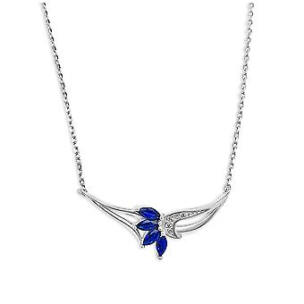 Ah! Jewellery Sterling Silver Floral Pendant Necklace Set Marquise Sapphire Crystals From Swarovski