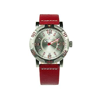 Redshift 7 Galaxy Grained Leather-Band Watch w/Date - Red/Silver