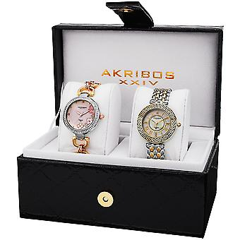 Akribos XXIV Women es AK886 Diamond Bracelet/Strap Watch Set AK886TT