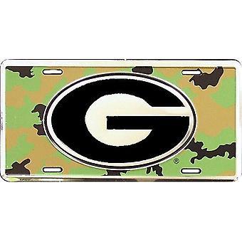 Georgia Bulldogs NCAA Camo Logo License Plate