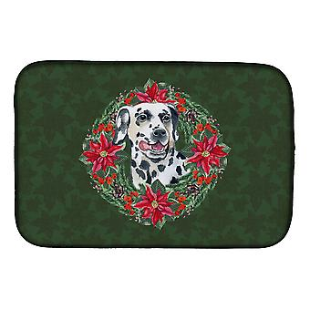 Carolines Treasures  CK1519DDM Dalmatian Poinsetta Wreath Dish Drying Mat