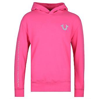 True Religion Reflective Logo Fuchsia Pink Hoodie